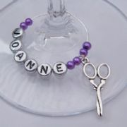 Scissors Personalised Wine Glass Charm